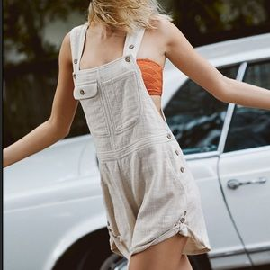 NEW Free People Happiest When Sandy Overall Shorts